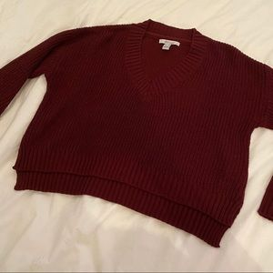 🌹4/16🌹Red cropped knit sweater
